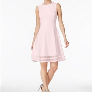 Calvin Klein Illusion-Trim Fit And Flare Dress